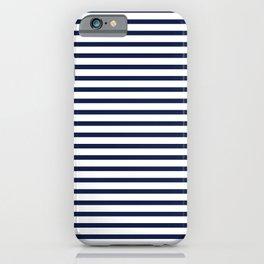 Navy Blue Breton Nautical Stripes Lines Minimal Stripe Line iPhone Case