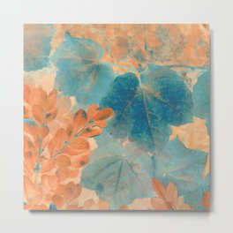 Blue and Orange Autumn Leaves Metal Print