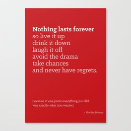 Life is Short Quote Poster Canvas Print