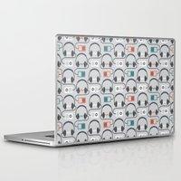 headphones Laptop & iPad Skins featuring Headphones Pattern by littletree designs
