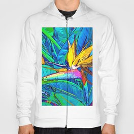 Bird of Paradise Flower Leaves Colorful Painting Hoody
