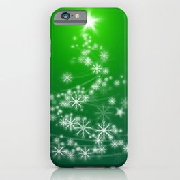 Whimsical Glowing Christmas Tree with Snowflakes in Green Bokeh iPhone Case