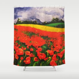 Poppies before the Storm Shower Curtain