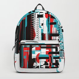 Bright Orange-Red, Black and Aqua Abstract City Backpack