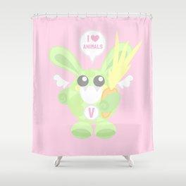 Bunbun Veggie Shower Curtain