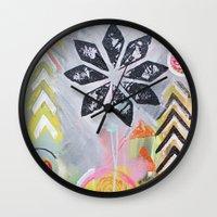 "flora bowley Wall Clocks featuring ""Intermix"" Original Painting by Flora Bowley by Flora Bowley"