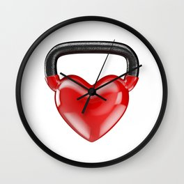 Kettlebell heart vinyl / 3D render of heavy heart shaped kettlebell Wall Clock