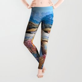 Peruvian Village Amid the Poppy and Calla Lily Fields in the Andes Mountains Leggings