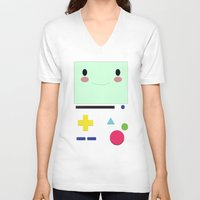bmo V-neck T-shirts featuring BMO!!  by anthonykun