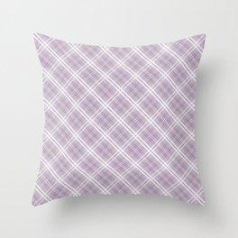Dark Chalky Pastel Purple and White Tartan Plaid Check Throw Pillow
