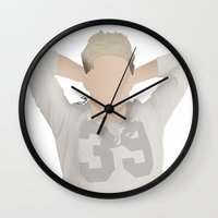 niall horan Wall Clocks featuring NIALL HORAN FOUR by Samantha Anderson