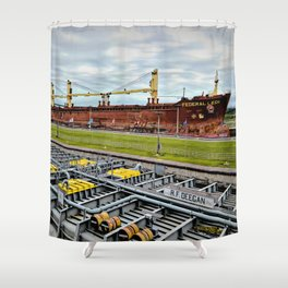 Freighters in Soo Locks Shower Curtain