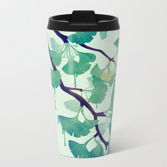 O Ginkgo (in Green) Metal Travel Mug