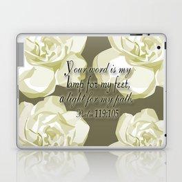 Scripture Gray,White Rose Laptop & iPad Skin