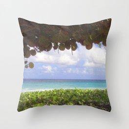Ocean View through Sea Grapes Throw Pillow
