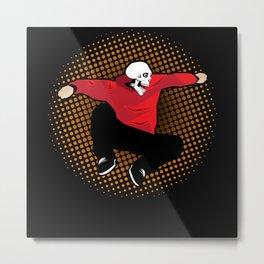 Crazy Parkour Street Jumper With Skull Head Laugh Metal Print