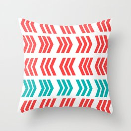 Aqua Pop and Coral Zig Zag Throw Pillow