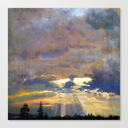 Johan Christian Dahl Cloud Study with Sunbeams Canvas Print