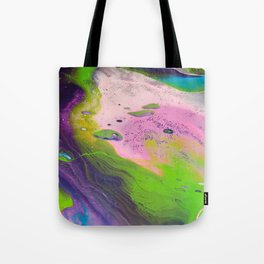 Fluid Art Acrylic Painting, Pour 14, Purple, Green, Pink & Blue Blended Colors Tote Bag