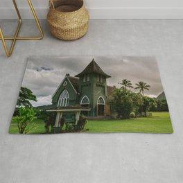 Wai'oli Hui'ia Church Hanalei Kauai Hawaii | Tropical Island Architecture Photography Print Rug