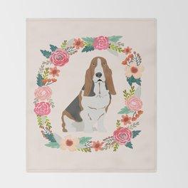 basset hound floral wreath dog gifts pet portraits Throw Blanket
