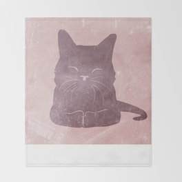 Happy purple cat illustration on pink for girls Throw Blanket