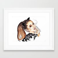 ariana grande Framed Art Prints featuring ARIANA G. by CARLOS CASANOVA