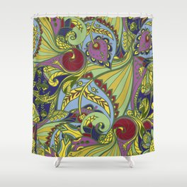 Drawn pattern in Indian style Shower Curtain
