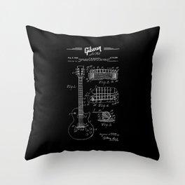 Gibson Les Paul Guitar Patent Drawing 1955 - Blueprint - Music Throw Pillow