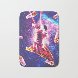 Outer Space Taco Cat - Rainbow Laser Eyes, Burrito Bath Mat