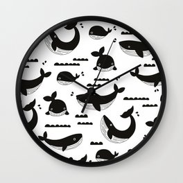 Little fish big fish ocean monochrome pattern Wall Clock