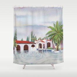 'Hacienda con fuente' landscape portrait by Antonio Ruiz Shower Curtain