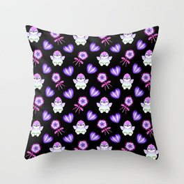 Lovely cute baby penguins, retro vintage purple lollipops and sweet candy hearts seamless pattern Throw Pillow