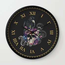 Colorful floral sugar skull with flowers and black raven Wall Clock