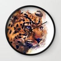leopard Wall Clocks featuring Leopard by jbjart