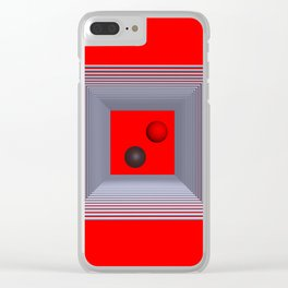 geometry on red background -3- Clear iPhone Case