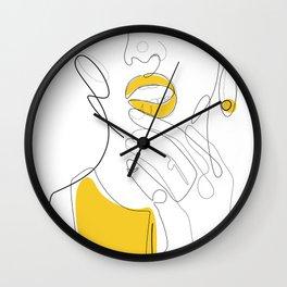 Bold Mustard Lip Wall Clock