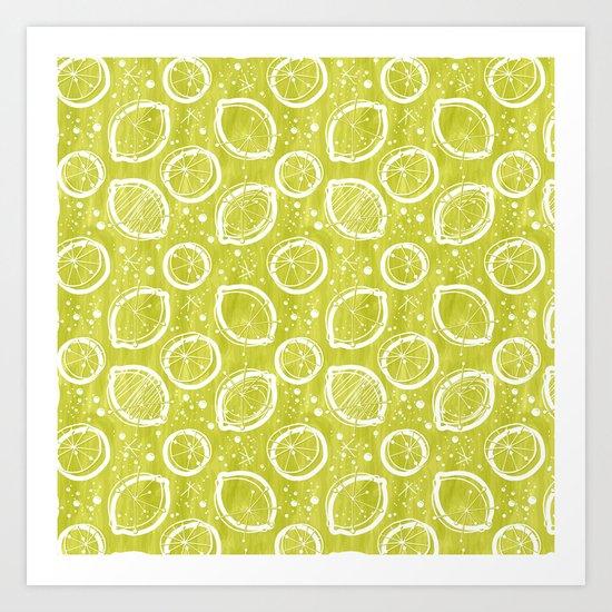 Atomic Lemonade_Green and White Art Print