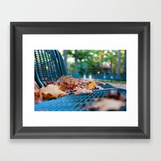 Bench with Autumn Leaves Framed Art Print