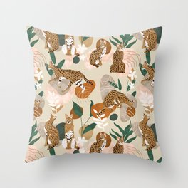 Serval cat abstract nature Throw Pillow