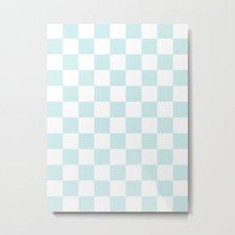 Checkered - White and Light Cyan Metal Print