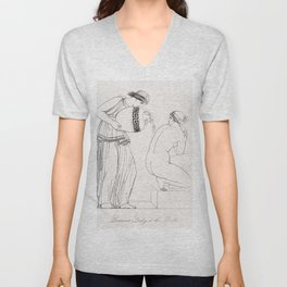 Grecian lady at the bath from An  of the Egyptian Grecian and Roman costumes by Thomas Baxter (1782- Unisex V-Neck