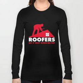 Roofer T-Shirt Gifts For Roofers Funny Roofing Shirts Long Sleeve T-shirt