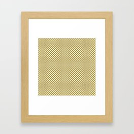 Golden Olive and White Polka Dots Framed Art Print
