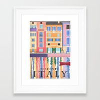 travel poster Framed Art Prints featuring Travel Poster: Italy by Carly Watts