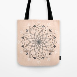 Bohemian Floral Mandala on Rose Pink Marble Tote Bag