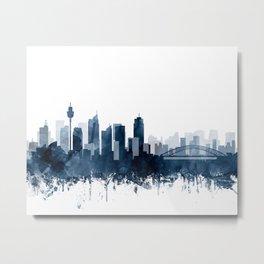 Sydney Skyline Watercolor Navy Blue by Zouzounio Art Metal Print