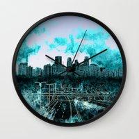 minneapolis Wall Clocks featuring minneapolis city skyline by Bekim ART