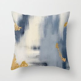 Blue and Gold Ikat Abstract Pattern #2 Throw Pillow