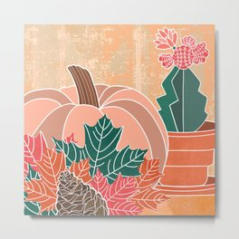 Harvest Love Collection: An Autumn Pumpkin, Some Fall Leaves, a Pinecone and a Moon Cactus Metal Print